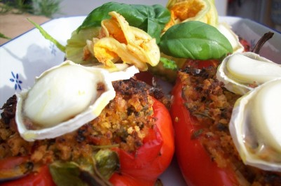 Roasted and stuffed peppers, with Goats Cheese