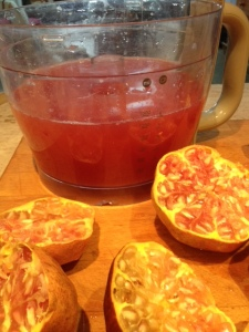 Pomegranate juice, 20 poms makes about 1.5 litres !!