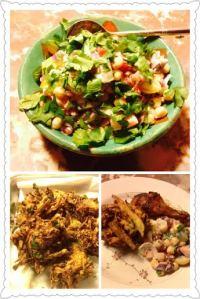 Chana Chat, Pakoras and sticky wings.