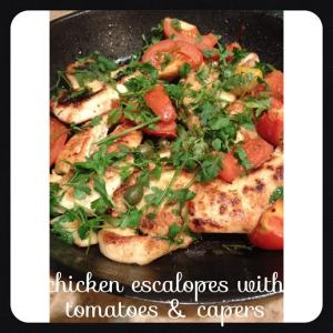 Chicken escalopes with toms and capers recipe.